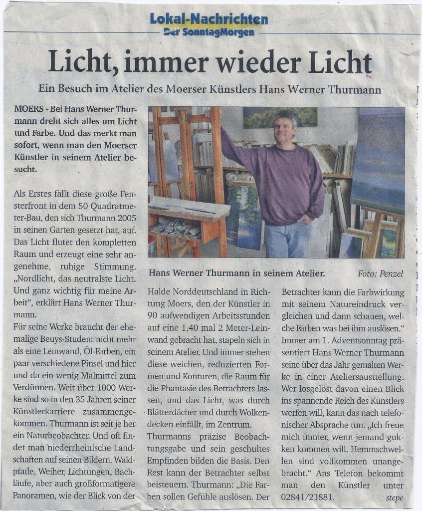 Zeitungsartikel Lokal-Nachrichten: Licht, immer wieder Licht