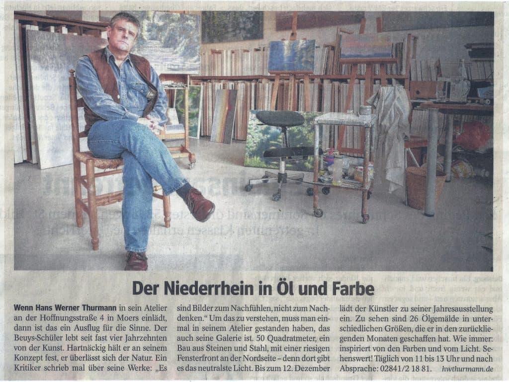 """Bild: Zeitungsartikel WAZ 5.12.2014 """"Der Niederrhein in Öl und Farbe"""""""