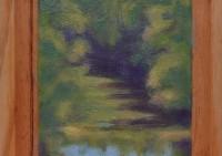 Dunkle Stelle am Bach - Holz - 11x12 - © 2017 H. W. Thurmann