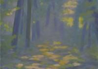 Waldstück am Morgen - 42x42 - Holz - © 2017 H. W. Thurmann